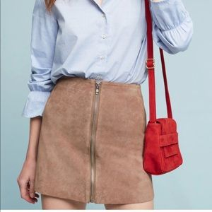 ANTHROPOLOGIE Leather Moto Mini Skirt